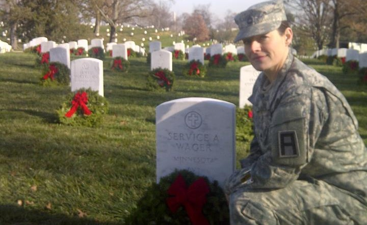 MSG Erica Lehmkuhl [SAMC Member] laying wreaths at Veterans as part of Wreaths Across America.
