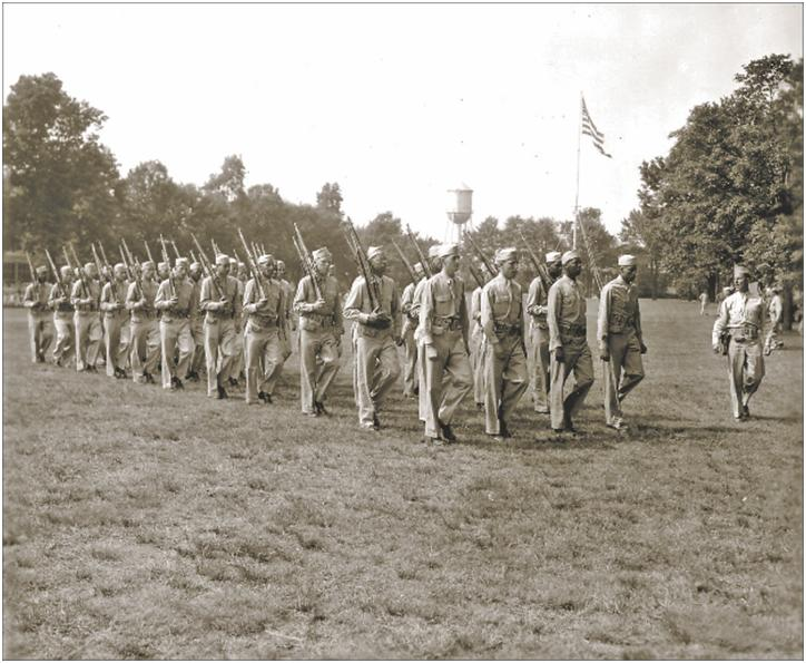 marching troops sing in formation
